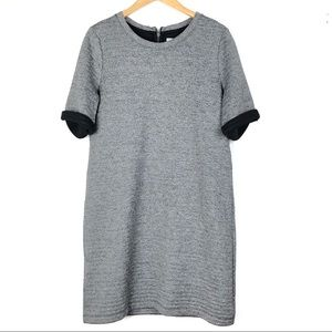 LOU & GREY shift dress Large gray knit casual d610